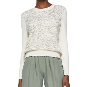 REBECCA TAYLOR Tomcat Leopard Pullover Sweater A9